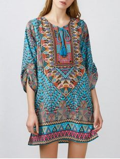 GET $50 NOW   Join RoseGal: Get YOUR $50 NOW!http://m.rosegal.com/print-dresses/tribal-printed-tessels-mini-dress-1061293.html?seid=8229767rg1061293