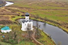 The Church of the Intercession of the Holy Virgin, Bogolubovo, Vladimir Region // The Church of the Intercession of the Holy Virgin on the Nerl River is an Orthodox church and a symbol of medieval Russia. The church is situated at the confluence of Nerl and Klyazma Rivers in Bogolyubovo, 13 km north-east of the ancient city of Vladimir. The church was built with white stone in 1165.