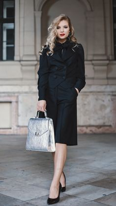 #orovicafashion #blackoutfit #outfitforoffice Black Culottes, Timeless Fashion, Dior, Suits, Womens Fashion, Design, Dior Couture, Suit