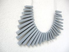 grey sticks with white round beads necklace  FREE by pergamondo