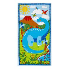 """Dandy+Dinos+Large+23""""+Panel+Multi from @fabricdotcom  Designed+by+Arrolynn+Weiderhold+for+Wilmington+Prints,+this+cotton+print+panel+measures+23""""+x+44""""+and+is+perfect+for+quilting,+crafts+and+home+decor+accents.+Colors+include+black,+shades+of+blue,+brown,+red,+green,+orange,+yellow+and+white.+"""