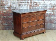 French Mahogany Marble Top Commode 19th Century