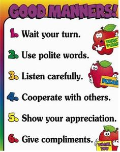 Good Manners Chart--the chart was based on rules formulated by the Children's… Manners Preschool, Manners Activities, Manners For Kids, Good Manners, English Activities, Preschool Activities, Teaching Manners, Teaching Respect, Preschool Quotes
