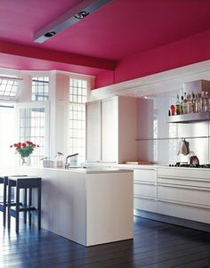 Add Color in the Kitchen~~Don't forget the CEILING. No  pesky cabinets up there to get in the way — you'll  bathe in gently reflected color in no time. (Image from House and Home http://houseandhome.com/design/photo-gallery-colourful-kitchens?page=8 )