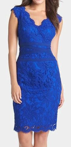 "Tadashi Shoji Embroidered Lace Sheath Dress (=^.^=) Thanks, Pinterest Pinners, for stopping by, viewing, re-pinning, & following my boards.  Have a beautiful day! ^..^ and ""Feel free to share on Pinterest ^..^ #fashion   #fashionupdates #women"