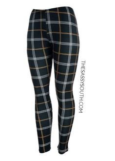 Plaid Print Full Length Light Weight Leggings (Black and Brown Pattern) Shop away, you sassy thing! Priced at Only - $12  This style legging looks great pair with just about any solid color dress and/or tunic fashion top! TheSassySouth.com  The Sassy South Boutique  #TheSassySouth #ShopSassySouth #Outfitgoals