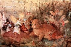 Fairy painting was a minor vogue in Victorian England. John Anster Fitzgerald was a leading practitioner of this particular a. Fairy Paintings, Hieronymus Bosch, Fantasy Illustration, Fairy Art, Fauna, Faeries, Cat Art, Printable Art, Enchanted