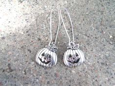 Silver Pumpkin Dangle Earrings, All Silver Tone Earrings, Kidney Wires, Halloween Jewelry by TerriJeansAdornments on Etsy