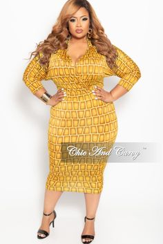 4b561717d03e New Plus Size Collared Faux Wrap BodyCon Dress with 3/4 Sleeves in Dark  Yellow Brick Print