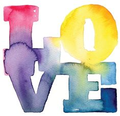 Watercolor Love - typography