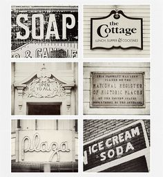 Vintage Sign Collection, Kitchen Decor, Shabby Chic Home Decor, Set of 6 Prints, Black And White, Cream, Rustic Decor. I'm loving this set of prints... They'd be perfect in so many places around the house.
