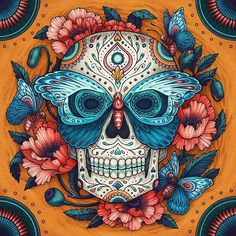 An illustration for Amber Lotus Publishing's, Day of the Dead 2017 calendar. Mexican Skulls, Mexican Art, Day Of The Dead Artwork, Sugar Skull Artwork, Candy Skulls, Sugar Skulls, Skeleton Art, Skeleton Makeup, Skull Wallpaper