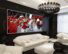 "Black Red Abstract Art Large Wall Art Wall Decor Art Modern Home Decor Huge 27x71""/70x180cm Large Painting"