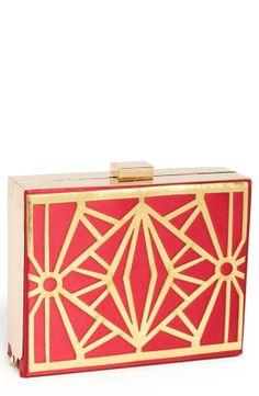 Natasha Couture Metal Box Clutch
