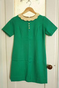 c646c903ae Items similar to Vintage 1960s Kelly Green Wool Mod Short Sleeve Shift  Dress on Etsy