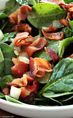 Salad with Hot Bacon Dressing Hot Bacon Dressing has got to be one of the best ways to dress a spinach salad. The tang from the vinegar is offset by the sugar, . Spinach Salad Recipes, Bacon Salad, Spinach Ideas, Crab Salad, Spinach Salad With Bacon, Sauteed Spinach, Bacon Bacon, Vinaigrette, Eating Clean