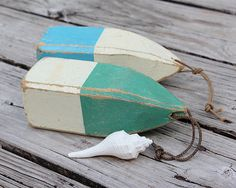 Green Lobster Buoy Beach Decor Vintage Nautical Wooden