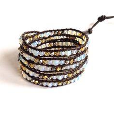 Moonstone Wrap Bracelet with Swarovski Crystals, Brown Leather