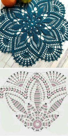 Free Crochet Doily Patterns, Crochet Doily Diagram, Crochet Flower Tutorial, Crochet Chart, Thread Crochet, Crochet Designs, Crochet Ideas, Knitting Patterns, Crochet Dollies