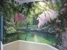 Peaceful landscape mural in breakfast nook.  www.dwcustommurals.com, Dream Walls Murals and faux Finish. By Artist Alfredo Montenegro