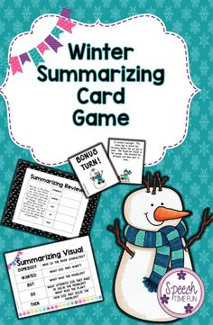 Speech Time Fun: Winter Summarization Card Game!  Fun way to practice using somebody-wanted-but-so-then!