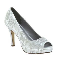 Winter by Dyeables White Satin/Lace - 32914  #shoes #benjaminwalkshoes #heels #wedding #bridal #bridal