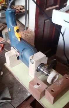 Drill Powered Toy Wheel making Lathe
