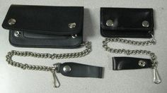 2 New Harley Davidson Style Chain Black Leather Wallets Made in U s A | eBay