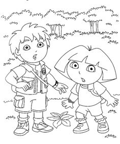 Go Diego Go coloring page Diego and Dora in the forrest Nick Jr Coloring Pages, Name Coloring Pages, Kids Printable Coloring Pages, Cartoon Coloring Pages, Animal Coloring Pages, Coloring Pages To Print, Coloring Sheets, Coloring Books, Dora Coloring