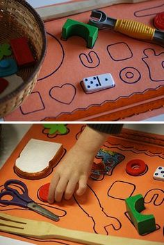 homemade shape puzzle for kids using household items trace the items onto a sheet of paper then give the kids the basket of items to match to the shapes! The post Play Date Idea: Homemade Shape Puzzles! Montessori Materials, Montessori Activities, Motor Activities, Infant Activities, Activities For Kids, Crafts For Kids, Visual Perceptual Activities, Montessori Kindergarten, Autism Activities