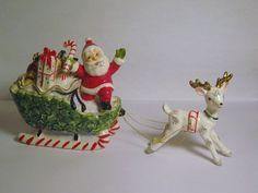RARE Vintage Christmas Candy Cane Sleigh Santa Claus Porcelain Figurine Reindeer Japan Napco Lefton Ornament Decoration Holt Howard Era