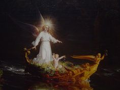 Detail of Thomas Cole's The Voyage of Life, Childhood: The boat, child, and angel on the water.