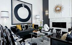 diseño blanco y negro con toque de color oro
