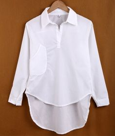 Women Fashion New Stylish Solid Long Sleeve Lapel Sexy Top Shirt