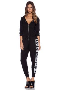 Lauren Moshi Luna Zip Up Hoodie Jumpsuit in Black