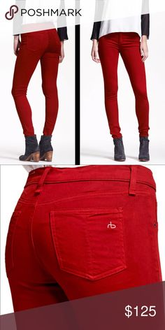 "Rag & Bone Plush Jean Leggings in Ruby Red Exclusive for Bergdorf Goodman these jeans do not disappoint. You know you're wearing a good pair of jeans when it makes you look and feel good. Incredibly soft twill leggings are designed with decorative slant pockets for a clean, streamlined look. 31"" inseam; 11"" leg opening; 9"" front rise; 13"" back rise. Zip fly with button closure. 60% cotton, 35% modal, 5% polyurethane. rag & bone Pants Leggings"