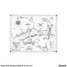 Cape Cod Treasure Map Canvas Print by artist Breten Bryden