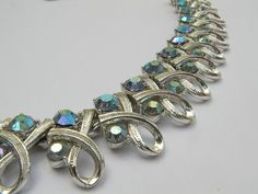 vintage rhinestone necklace Coro jewerly blue by ShoponSherman, $34.00
