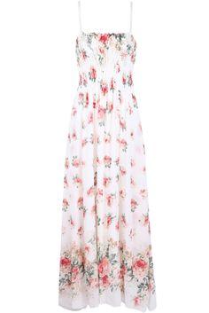 Apricot Spaghetti Strap Floral Full Length Dress - Sheinside.com