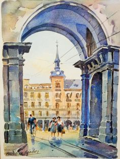 Vibrant Madrid Watercolor Painting by Carlos Sanchez, Mid-Century Wall Art - pinned by pin4etsy.com