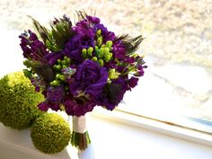 purple green teal peacock bridal bouquet utah wedding florist calie rose