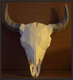 Bison Head Skull Free Papercraft Download - http://www.papercraftsquare.com/bison-head-skull-free-papercraft-download.html