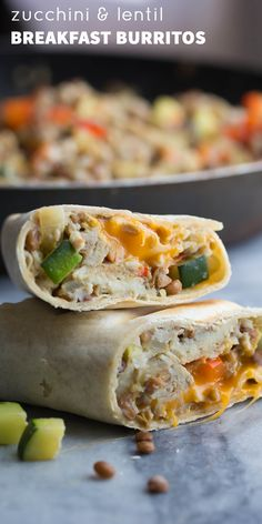 Zucchini Lentil Breakfast Burritos, easy to make ahead and thaw as needed! Super filling and nutritious.