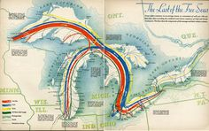 Great Lakes shipping routes 1940 #map #greatlakes #canada #usa