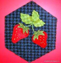 Stitching Society Wool Hexagon strawberries