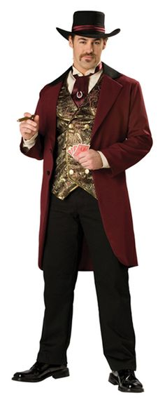 This is what a male gambler would wear to the local saloon for a night of gambling. A hat, a tie, a vest, and mid long coat would be considered in his attire. Usually a white button down shirt would be worn under his vest. The colors then were usually dark such as burgundy, navy blue, black and brown. This photo gives us an idea of what we would see these men dressed like.