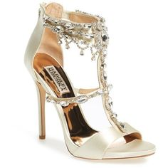 Women's Badgley Mischka 'Dent' Crystal Embellished T-Strap Sandal ($285) ❤ liked on Polyvore featuring shoes, sandals, ivory satin, strappy stiletto sandals, strappy stilettos, ivory sandals, badgley mischka sandals and sparkly sandals