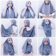 INAYAH   Pale Blue Long Shirt #Abaya + Feather Grey Georgette #Hijab ...