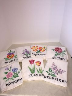 Vintage Cross Stitch Day of the Week Floral Kitchen Dish Towels Set of 7