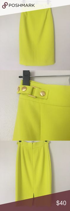 Antonio Melani midi skirt Stunning lime midi skirt with buckles at the waist and slit in the back. Runs a little big so would fit a size 0/2 ANTONIO MELANI Skirts Midi